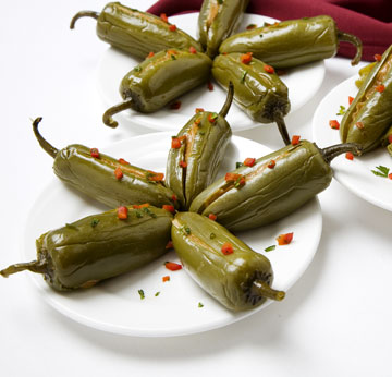 Jalapeños Escabeche Stuffed with Peanut Butter